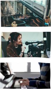 Kolmen valokuvan kollaasi, jossa ylimmässä kuvassa on julkisen tilan aula ja portaikko täynnä ihmisiä, keskimmäisessä nainen videokameran kanssa ja alimmaisessa henkilöstä näkyy kädet, jotka soittavat pianoa.